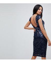 Lyst - TFNC London Mini Sequin Dress With Cap Sleeve in Blue 2b243bccb
