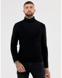 Bershka - Knitted Roll Neck Jumper In Black for Men - Lyst