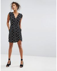 Trollied Dolly - Black Cute Crossover Heart Print Dress - Lyst