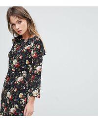 78384690f898 Oasis - Multicolor Rose Print Flute Sleeve Shift Dress - Lyst