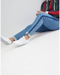 ASOS - Plus Skinny Jeans In Mid Wash Blue With Side Seam Detail for Men - Lyst