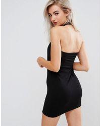 ASOS - Black Mini Square Neck Halter Bodycon Dress - Lyst