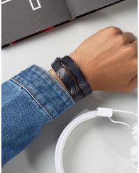 DIESEL - A-sharpen Leather Wrap Bracelet In Brown for Men - Lyst