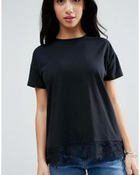 ASOS - Black T-shirt With Lace Detail - Lyst