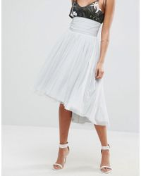 ASOS - Gray Midi Tulle Skirt With Button Back Detail - Lyst