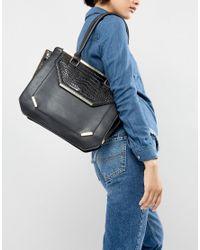 Yoki Fashion Black Yoki Tote Bag With Hardware Detail