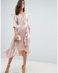 ASOS - Pink Wrap Ruffle Midi Dress - Lyst