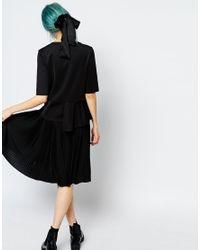 Monki - Black Pleated Midi Skirt - Lyst