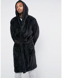 Lyst - ASOS Hooded Fleece Dressing Gown in Black for Men 5ddf5bf6f