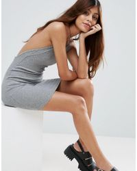 ASOS - Gray Mini Dress In Rib With Cross Back - Lyst