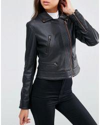 ASOS - Black Faux Leather Biker Jacket With Multi Stitch - Lyst