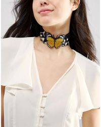 ASOS | Multicolor Butterfly Choker Necklace | Lyst