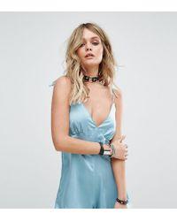 Motel - Blue Luxe Cami Romper In Satin - Lyst