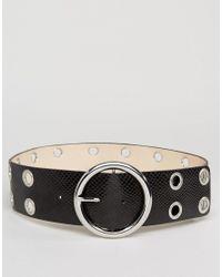 Glamorous | Black Eyelet Round Buckle Waist Belt | Lyst