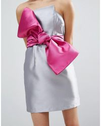 ASOS - Gray Structured 80's Bow Cocktail Dress - Lyst
