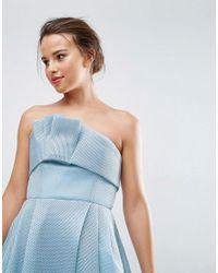 ASOS - Blue Premium Bandeau Airtex Fold Front Midi Dress - Lyst