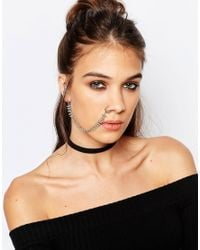 Regal Rose - Metallic Sienna Dotted Nose To Ear Stud Chain - Lyst