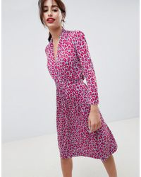8077eed89397 French Connection Animal Print Tie Waist Dress in Red - Lyst