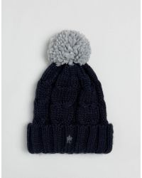 French Connection - Blue Cable Knit Contrast Bobble Beanie for Men - Lyst