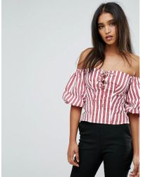 Mango | Red Tie Front And Stripe Top | Lyst