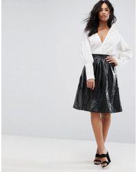 9bfb8c6a9be215 Vero Moda Vinyl Skater Skirt in Black - Lyst