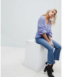 Vero Moda - Blue V Neck Sweater With Balloon Sleeve - Lyst