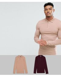 ASOS - Multicolor Muscle Fit Long Sleeve Jersey Polo 2 Pack Save for Men - Lyst