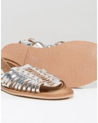 Warehouse - Metallic Huarache Plaited Sandal - Lyst