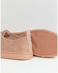 ASOS - Wide Fit Lace Up Sneakers In Pink Suede - Lyst