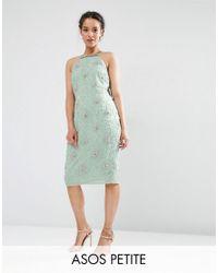 ASOS | Green Wedding Embellished Drape Back Midi Dress | Lyst