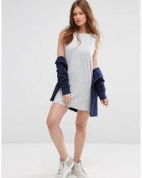 ASOS - Gray Beach Mini Dress With Pom Pom Detail - Lyst