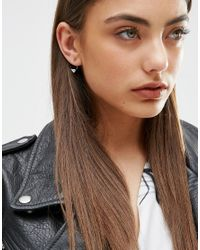 ASOS - Brown Mini Spike Swing Earrings - Lyst
