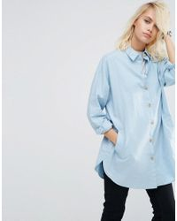 ASOS | Blue Soft Twill Oversized Shirt | Lyst