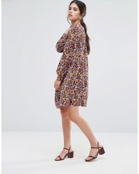 Traffic People - White Smock Dress In 70s Floral Print - Lyst