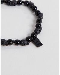 Icon Brand - Black Beaded Bracelet With Skull Bead for Men - Lyst