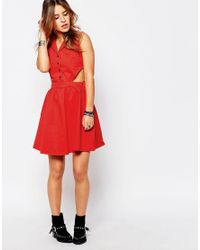 Noisy May Petite - Red Western Cut Out Dress - Lyst