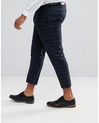 ASOS - Blue Plus Skinny Crop Smart Pants In Navy Windowpane Check for Men - Lyst