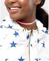 ASOS - Pink Neon Velvet Choker Necklace - Lyst