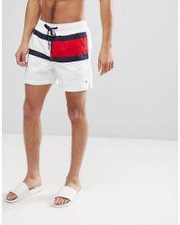 c9c5c0ab0811 Tommy Hilfiger. Men s Medium Drawstring Large Icon Flag Swim Shorts In White