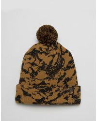 The North Face - Natural Tuke Bobble Beanie Trees Camo In Beige for Men - Lyst