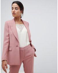 Reiss - Pink Tailored Longline Jacket - Lyst