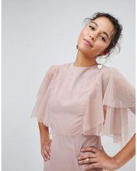 ASOS - Green Tulle Godet Flutter Sleeve Maxi Dress - Lyst