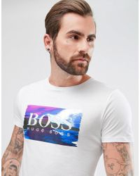 BOSS - By Hugo Boss Typical 2 Large Graphic Logo Print T-shirt In White for Men - Lyst