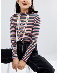 Monki - Multicolor Layered Pearl Necklace - Lyst