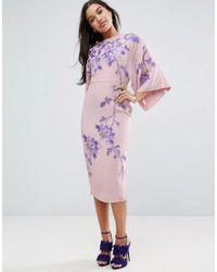 ASOS - Natural Embroidered Kimono Midi Dress - Lyst