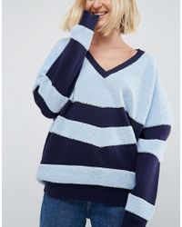 ASOS - Blue Chevron Knit Jumper - Lyst