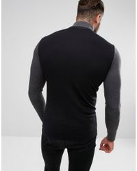 ASOS - Black Asos Long Sleeve Muscle Fit T-shirt With Contrast Sleeve And Neck for Men - Lyst