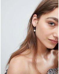 ASOS - Metallic Pack Of 2 Pearl Hoop Earrings - Lyst
