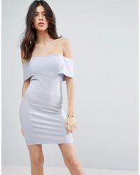 ASOS - Blue Deep Bardot Mini Bodycon Dress - Lyst