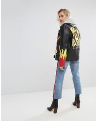 The Ragged Priest - Black Label Premium Leather Jacket With Handpainted Flames - Lyst